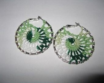 Green Colored Crochet Hoop Earrings