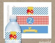 Tractor Birthday Drink Wraps // Farm Birthday Printables // Farm Birthday // Red Tractor Birthday // DIY Printables