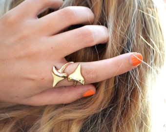 Double Shark Tooth Ring - Shark Tooth Wrap Ring - Statement Ring - Shark Tooth - 18k Gold Plated