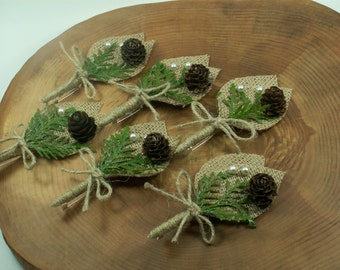 Rustic Boutonniere -  6 Groom and groomsmen boutonniere,  Natural  Boutonniere