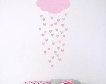 Wall Sticker Decal Set - Raining Hearts (fabric not vinyl)