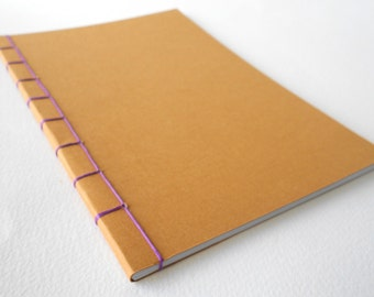 Custom notebook journal with stab binding and 120 blank pages- A3, A4, A5, A6 format handmade simple plain notebook