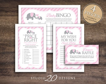 Instant Download Pink Elephant Baby Shower Games Pack, Printable Girl Elephant Bingo Cards, Price Is Right, Wish for Baby, Diaper Raffle 22B