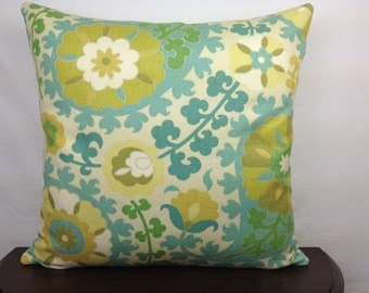 Summer Suzani 20x20 Decorative Throw Pillow Cover, Accent Pillow