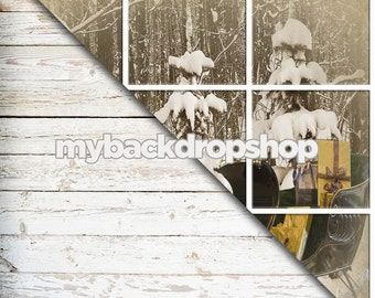 Combo - Two 4ft x 4ft Vinyl Photography Backdrop and Floor Drop - Weathered White Painted Wood / Christmas Window - Item 1754 & 1758