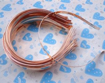 Gold headbands--10 pcs 7mm gold metal headbands