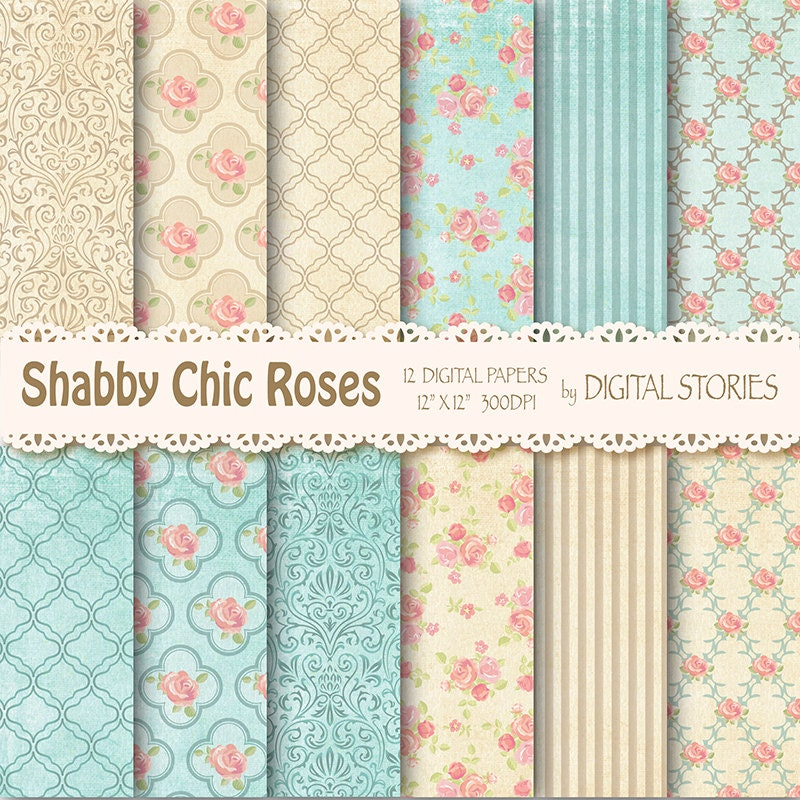 Shabby Chic Digital Paper: SHABBY TEAL BEIGE
