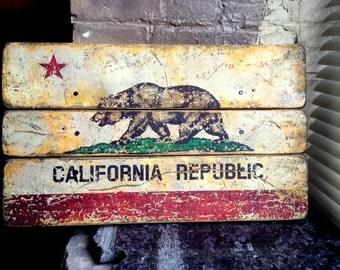 California State Flag Distressed Barn Wood Art