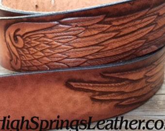 Wing Design Leather Name Belt