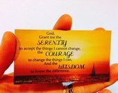 Serenity Prayer magnet with original photo of sunset in Key West Florida, shades of orange red yellow