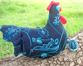 "SPRING SALE - Colorful chicken doorstop  - ""Ramblin Rita"" - embroidered blue silk, quilted wings and tail and fancy blue egg - ChickenJungle"