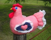Red gingham chicken doll doorstop - blue wings, red gingham heart, quilted wings and tail, eyelet ruffle
