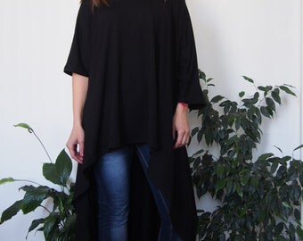 Asymmetric Over-Sized Tunic Long Jersey Tunic Top Long Blouse