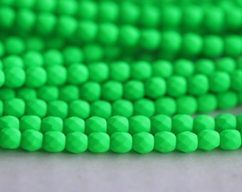 50 Neon Green, 3mm Faceted Round Czech Glass Fire Polished Beads (FP-3M-6)