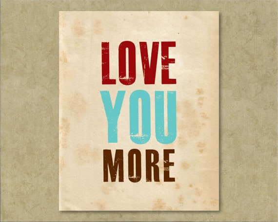 Wall Art Love You More : Love you more wall art typography decor by