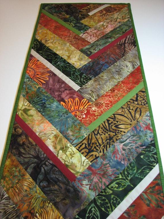 Quilted Batik Table Runnerbraid Chevron Autumn Tones