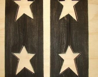 "Rustic decorative black wood shutters with  stars .   36"" X 7"" wide, many colors"