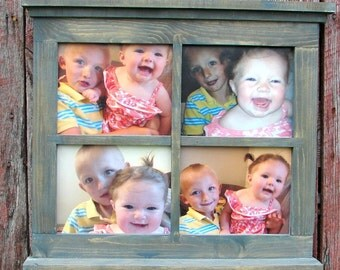 "Four pane window picture  frame 21"" 1/2"" tall X 24"" wide"