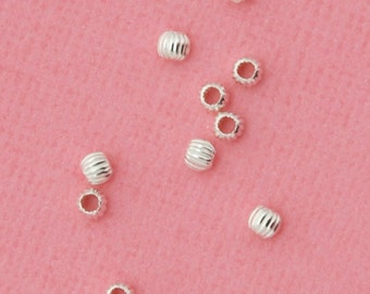 3mm sterling silver bead - 100pcs - grooved ball bead - sterling silver corrugated bead - silver ribbed spacer bead - sterling spacer bead