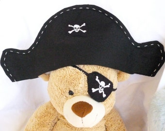 Pirate Eyepatch, or choose the Hat/Eyepatch Set, Felt Pirate Set, Halloween Costume, Kids Dress up