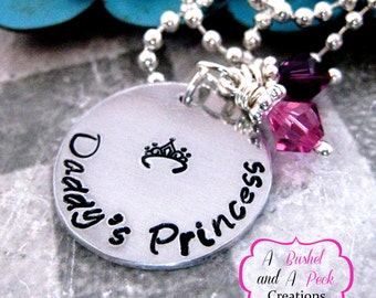 Hand stamped Daddy's Princess Necklace with Pink & Purple Swarovski Crystals