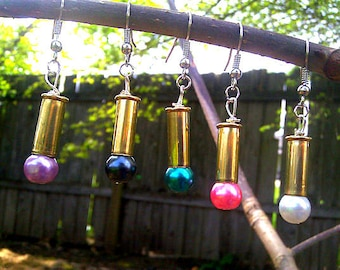 Once fired 22cal dangle earrings with glass pearl ~* EARRINGS FOR A CAUSE*~