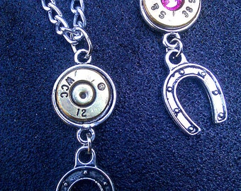 Bullet Casing Necklace with Horseshoe Charm