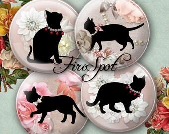 Flower Black Cat.Black Cat -Digital Collage Sheet 1.5 inch,1.25 inch,30 mm,1 inch,25 mm Circles Glass Pendants, Bottlecaps,Scrapbooking