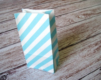 Party Favor Bags-10 Robins Egg Blue Striped SMALL Lunch Sack-Blue Party Favor Bags-Wedding Gift Bag-Birthday Treat Bag-Blue Goodie Bag