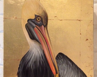 Pelican on gold leaf canvas
