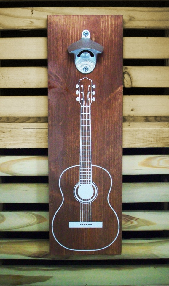 wood wall mount beer bottle opener acoustic by coffeediemdrygoods. Black Bedroom Furniture Sets. Home Design Ideas