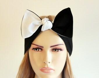 Bow Headband ,Headband,gypsy turban, twisted head beand,ear warmer , extra wide,black white
