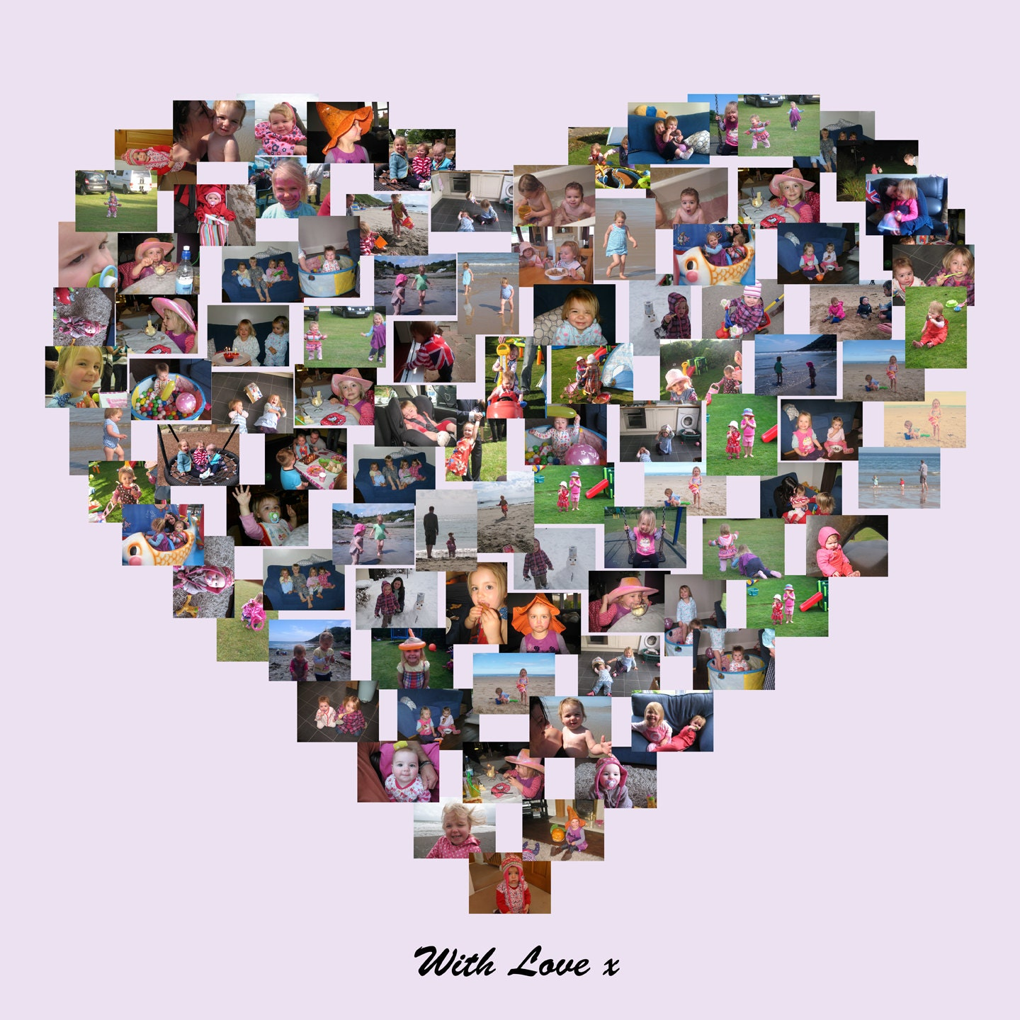 Heart Shape Photo Collage On Canvas Personalise Collage