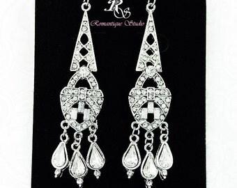 Vintage style wedding jewelry, crystal earrings, bridal earrings, rhinestone bridesmaid earrings, bridesmaid jewelry, art deco earring 1119