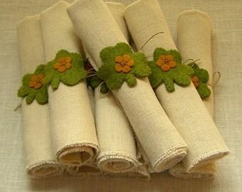 Felt St. Patrick's Day Shamrock Napkin Rings, Set of 6 Wool Felt Shamrocks *Made to Order