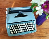 Smith Corona Sterling Baby Blue and Sage Green Typewriter - Vintage Manual Typewriter - 1960s