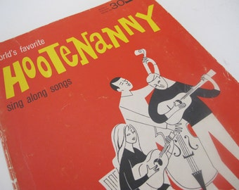 Folk Music Book Folk Songs Hootenanny Guitar Music Book 1964 Music 1960
