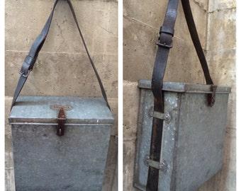 Antique Industrial Primitive Metal Bag - Vintage Steel Tool Box - Leather Strap Sheet Metal Workers Box - Unique Messenger Courier Bag