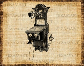 Vintage phone (2) - Digital Collage Sheet, Scrapbooking, Burlap Fabric Transfer to Tea Towels, Pillows, T-shirts, Download and Print