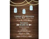 Rustic Wedding Invitation DIY PRINTABLE Digital File or Print (extra) Mason Jars Wedding Invitation Country Wedding Invitation with Lights