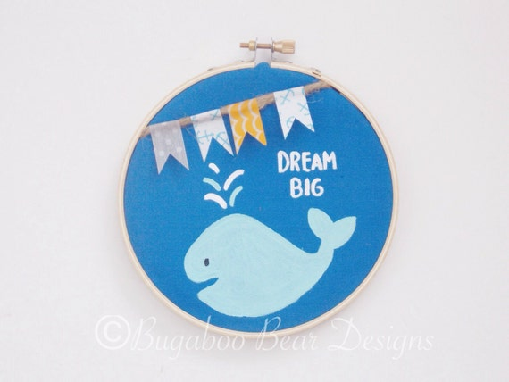 Dream Big Hoop Art, Whale Hoop Art, hand painted, wall hanging, nautical, 5 inch hoop, nursery decor, Washi tape, Ocean nursery decor