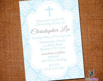 Baby Blue Boy Baptism Invitation F irst Communion Christening Invite ...