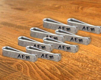 Groomsmen Gift Eight (8) Personalized Skinny Tie Clips / Monogram Tie Clip / Custom Tie Clip / Tie Bar / Father's Day Gift / Free Shipping
