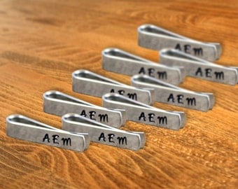 Groomsmen Gift Nine (9) Personalized Skinny Tie Clips / Monogram Tie Clip / Custom Tie Clip / Tie Bar / Father's Day Gift / Free Shipping