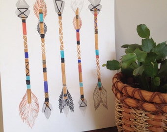 Original Native American Arrows watercolor