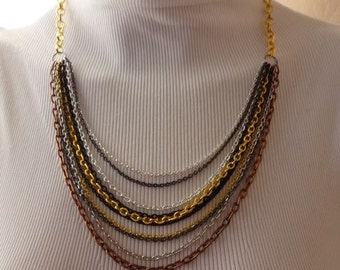Multi Strand Mixed Metal Chain Necklace - Limited Quantity