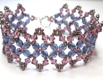 Amethyst bracelet, purple bracelet, beaded lace bracelet, violet bracelet, czech glass, victorian bracelet, beadwoven, beadwork, BR016