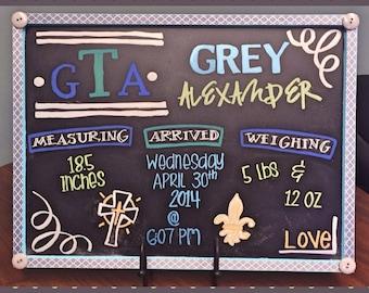 Handwritten & Customizable Chalkboard Baby Announcement Nursery Sign 17x23