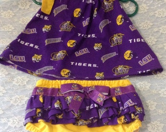 9-12 months LSU pillowcase top with ruffled bloomers