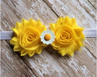 Yellow Shabby Chic Daisy Headband, Baby Headband, Toddler Headband, Girls Headband, Adult Headband, Flower Headband, Daisy Hair Bow